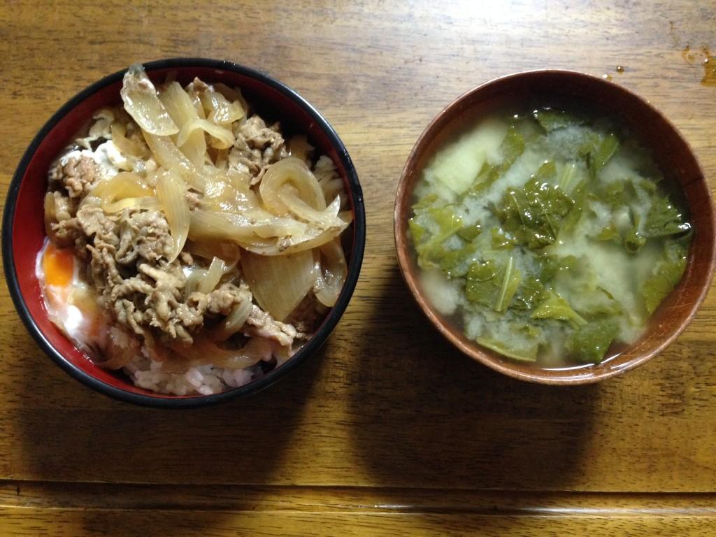 豚丼とお味噌汁