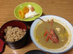 『丸新荘』の伊勢海老味の噌汁とご飯