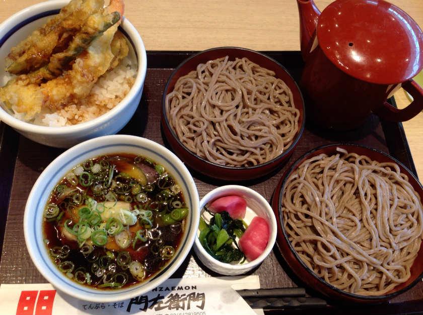 鴨と野菜のつけ汁わりこミニ天丼セット