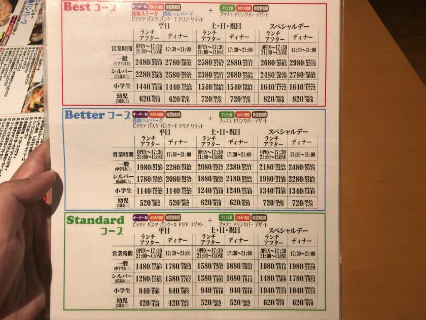ピソリーノ宮崎店 料金価格