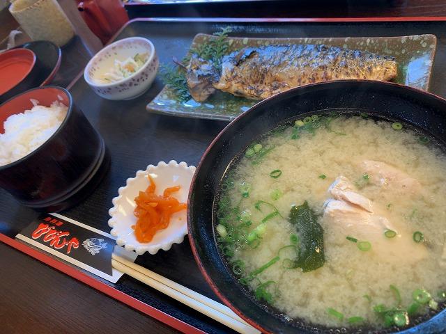 鯖塩焼きと鯛のあら汁定食